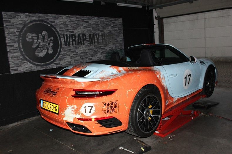 Porsche turbo S gulf weathered Livery, Carwrapping door Wrapmyride.nu Foto-nr:12083, ©2019