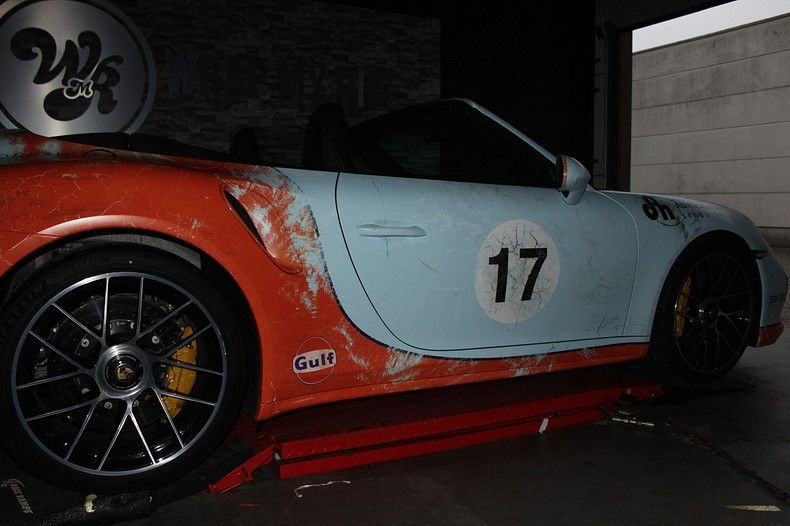 Porsche turbo S gulf weathered Livery, Carwrapping door Wrapmyride.nu Foto-nr:12068, ©2019