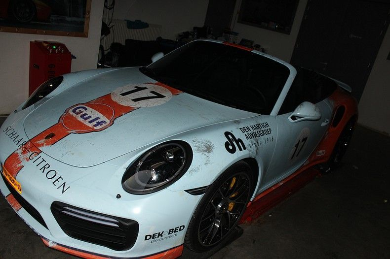 Porsche turbo S gulf weathered Livery, Carwrapping door Wrapmyride.nu Foto-nr:12074, ©2019