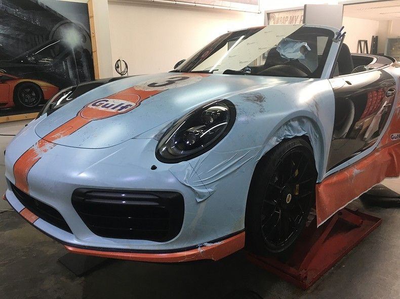 Porsche turbo S gulf weathered Livery, Carwrapping door Wrapmyride.nu Foto-nr:12161, ©2019