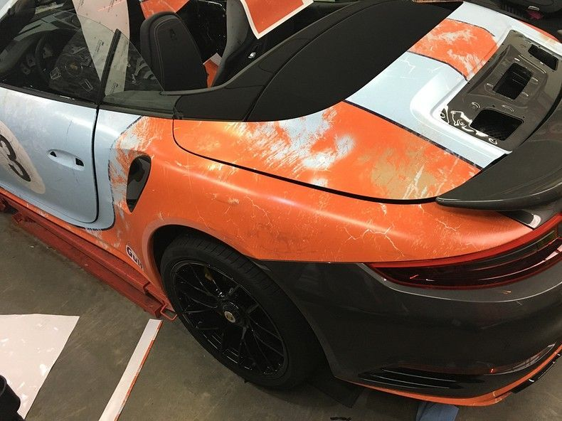Porsche turbo S gulf weathered Livery, Carwrapping door Wrapmyride.nu Foto-nr:12156, ©2019