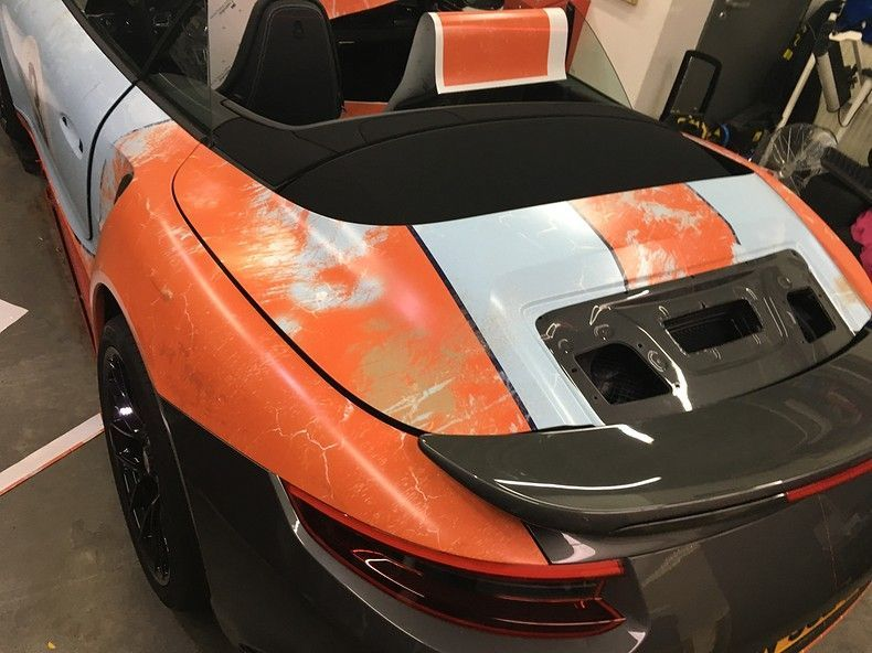 Porsche turbo S gulf weathered Livery, Carwrapping door Wrapmyride.nu Foto-nr:12153, ©2019