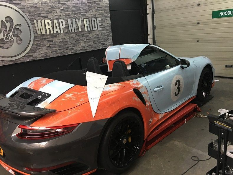 Porsche turbo S gulf weathered Livery, Carwrapping door Wrapmyride.nu Foto-nr:12151, ©2019