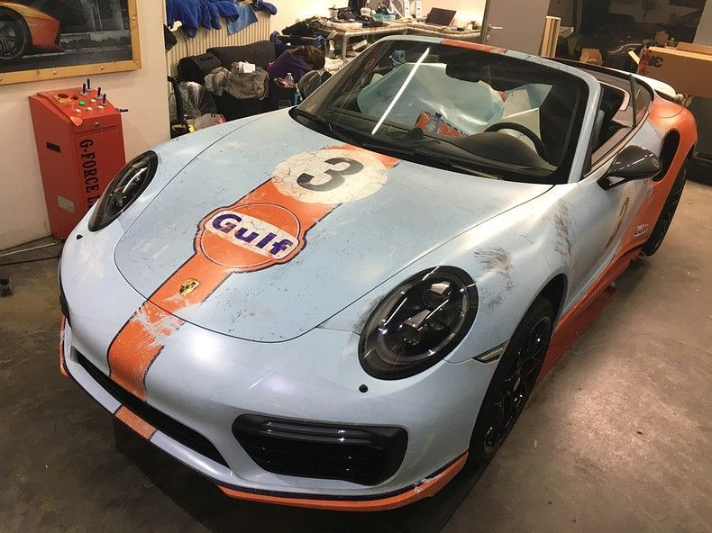 Porsche turbo S gulf weathered Livery, Carwrapping door Wrapmyride.nu Foto-nr:12147, ©2019