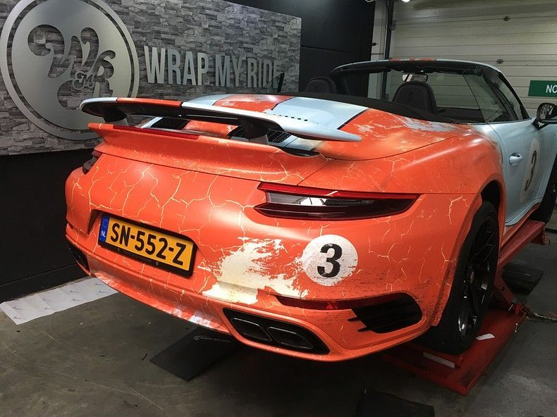 Porsche turbo S gulf weathered Livery, Carwrapping door Wrapmyride.nu Foto-nr:12140, ©2019