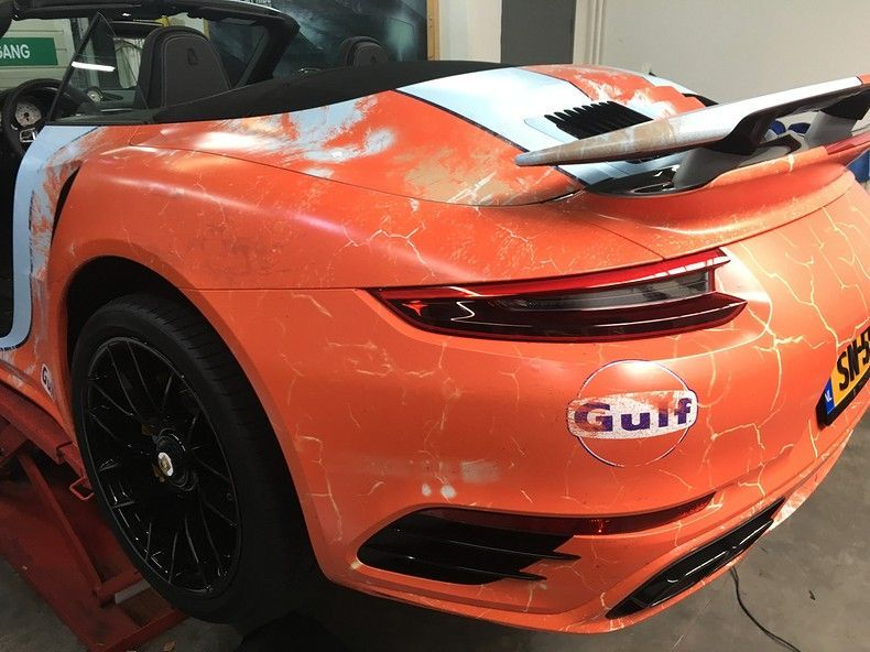Porsche turbo S gulf weathered Livery, Carwrapping door Wrapmyride.nu Foto-nr:12138, ©2019