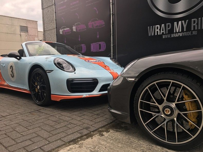 Porsche turbo S gulf weathered Livery, Carwrapping door Wrapmyride.nu Foto-nr:12135, ©2019