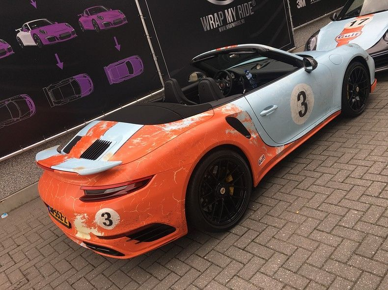 Porsche turbo S gulf weathered Livery, Carwrapping door Wrapmyride.nu Foto-nr:12133, ©2019