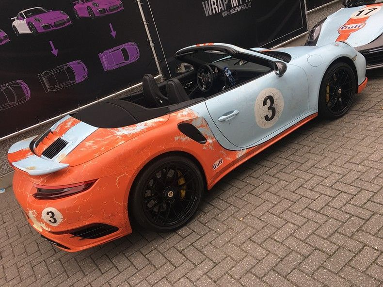 Porsche turbo S gulf weathered Livery, Carwrapping door Wrapmyride.nu Foto-nr:12132, ©2019
