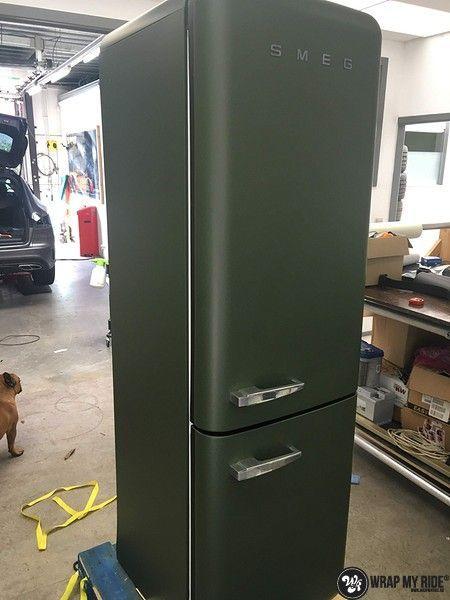Smeg koelkast matte army green, Carwrapping door Wrapmyride.nu Foto-nr:12677, ©2021