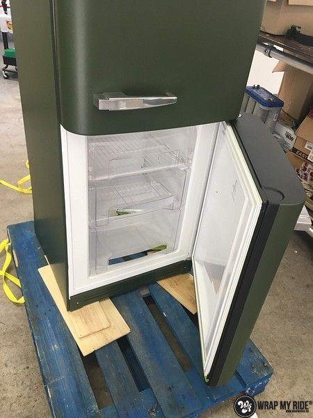 Smeg koelkast matte army green, Carwrapping door Wrapmyride.nu Foto-nr:12672, ©2021