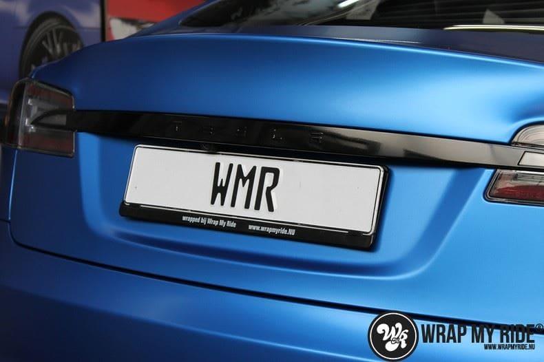 Tesla model S p85D Satin Perfect Bleu two-tone, Carwrapping door Wrapmyride.nu Foto-nr:7986, ©2020