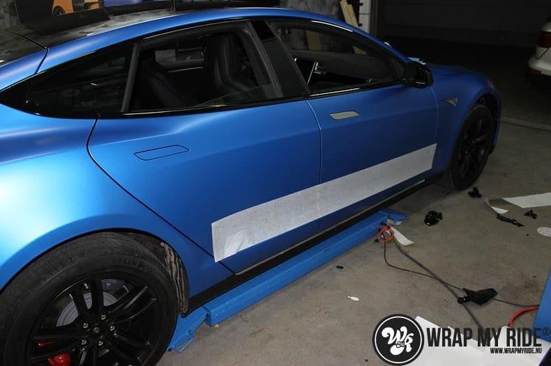 Tesla model S p85D Satin Perfect Bleu two-tone, Carwrapping door Wrapmyride.nu Foto-nr:7989, ©2020