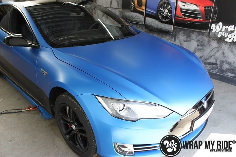 Tesla model S p85D Satin Perfect Bleu two-tone, Carwrapping door Wrapmyride.nu Foto-nr:7990, ©2021