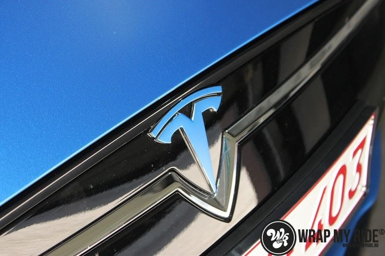 Tesla model S p85D Satin Perfect Bleu two-tone, Carwrapping door Wrapmyride.nu Foto-nr:7991, ©2021