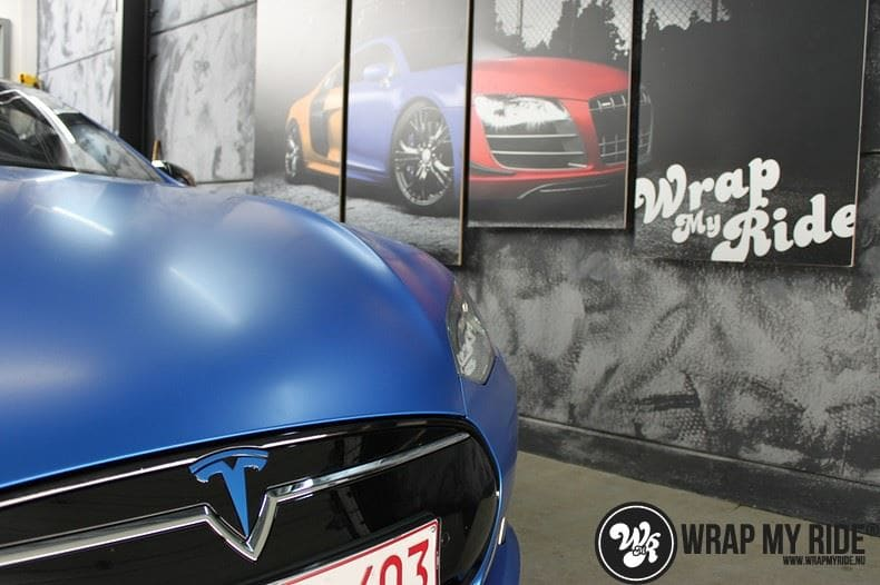 Tesla model S p85D Satin Perfect Bleu two-tone, Carwrapping door Wrapmyride.nu Foto-nr:8015, ©2021