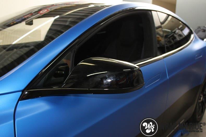 Tesla model S p85D Satin Perfect Bleu two-tone, Carwrapping door Wrapmyride.nu Foto-nr:8020, ©2020