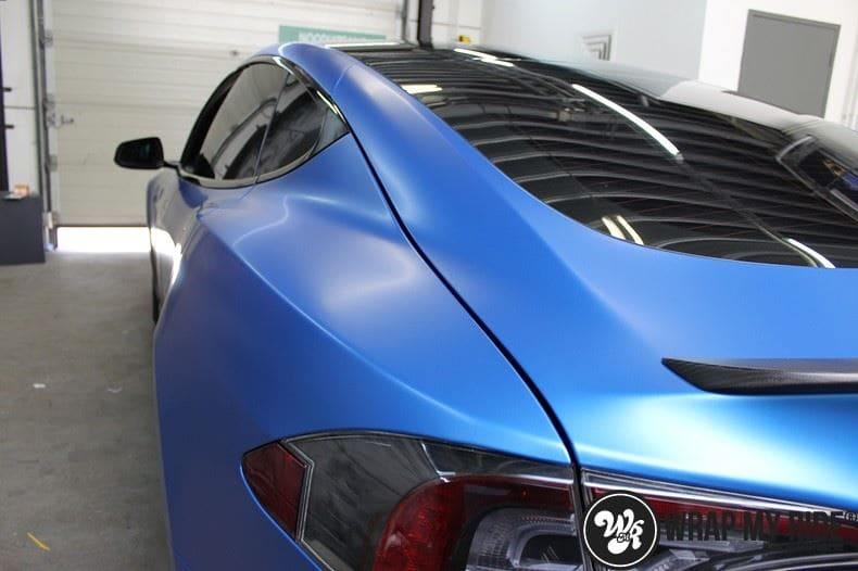Tesla model S p85D Satin Perfect Bleu two-tone, Carwrapping door Wrapmyride.nu Foto-nr:8021, ©2020