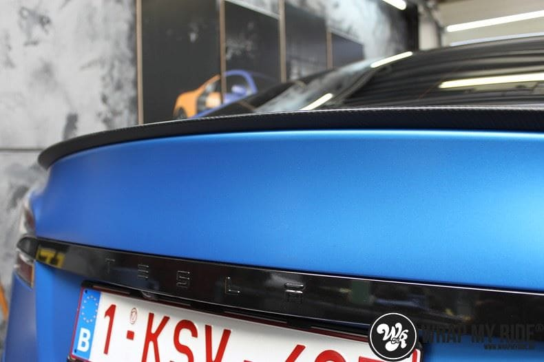 Tesla model S p85D Satin Perfect Bleu two-tone, Carwrapping door Wrapmyride.nu Foto-nr:8022, ©2020