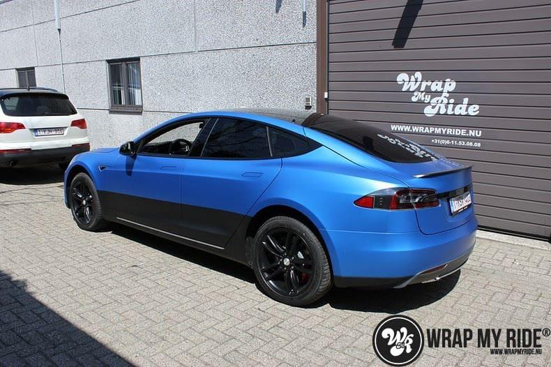 Tesla model S p85D Satin Perfect Bleu two-tone, Carwrapping door Wrapmyride.nu Foto-nr:8025, ©2020