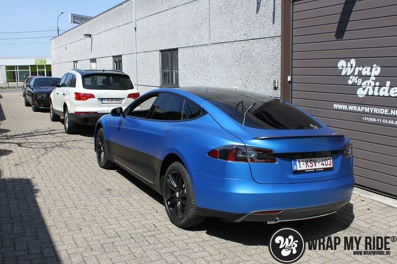 Tesla model S p85D Satin Perfect Bleu two-tone, Carwrapping door Wrapmyride.nu Foto-nr:8026, ©2020