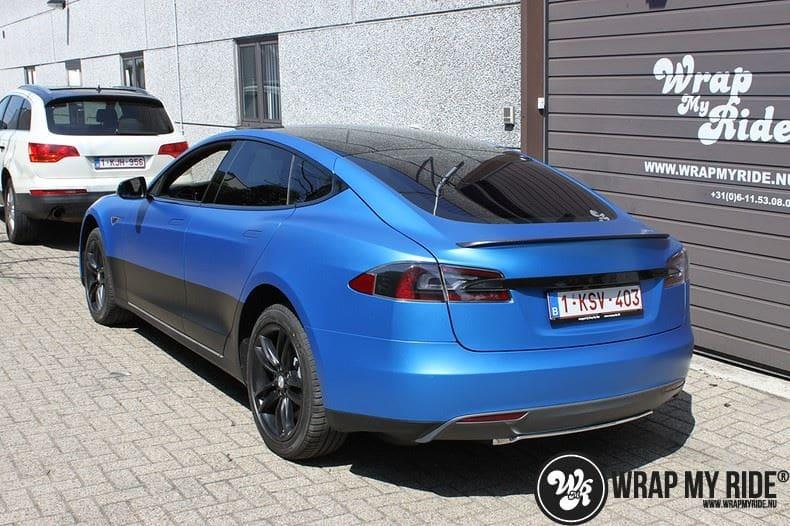 Tesla model S p85D Satin Perfect Bleu two-tone, Carwrapping door Wrapmyride.nu Foto-nr:8004, ©2020
