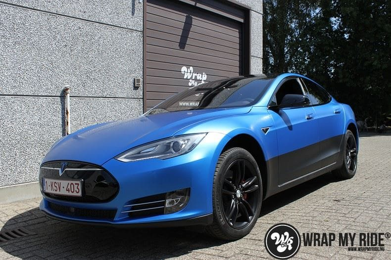 Tesla model S p85D Satin Perfect Bleu two-tone, Carwrapping door Wrapmyride.nu Foto-nr:8028, ©2021