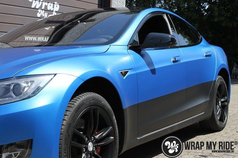 Tesla model S p85D Satin Perfect Bleu two-tone, Carwrapping door Wrapmyride.nu Foto-nr:8029, ©2020