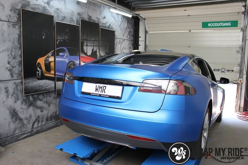 Tesla model S p85D Satin Perfect Bleu two-tone, Carwrapping door Wrapmyride.nu Foto-nr:8030, ©2021
