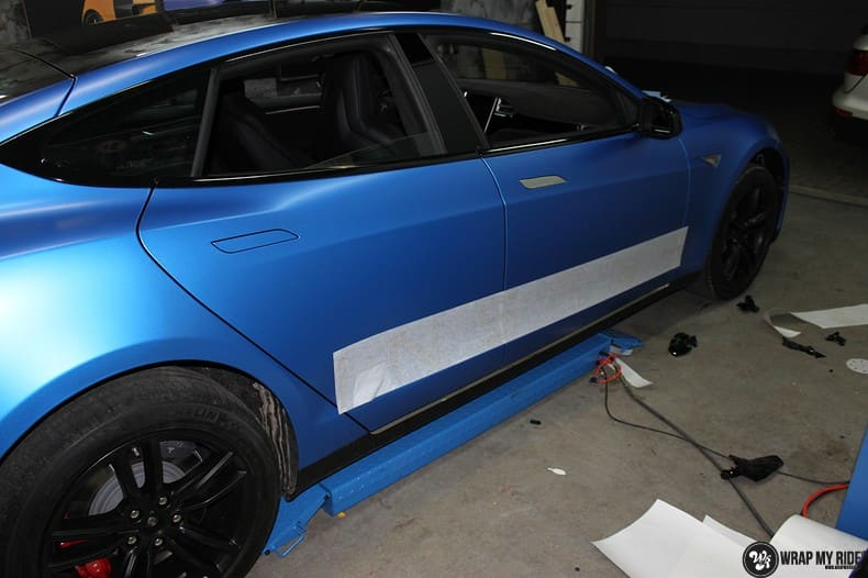 Tesla Model S P90D, Carwrapping door Wrapmyride.nu Foto-nr:10091, ©2021