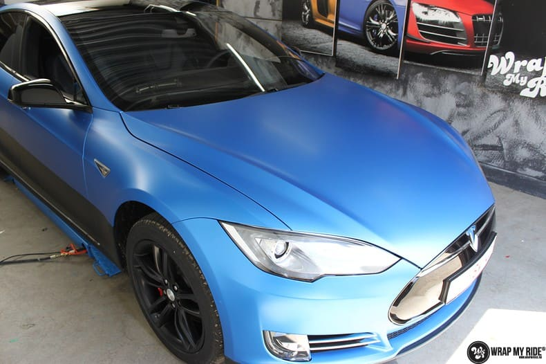 Tesla Model S P90D, Carwrapping door Wrapmyride.nu Foto-nr:10090, ©2018