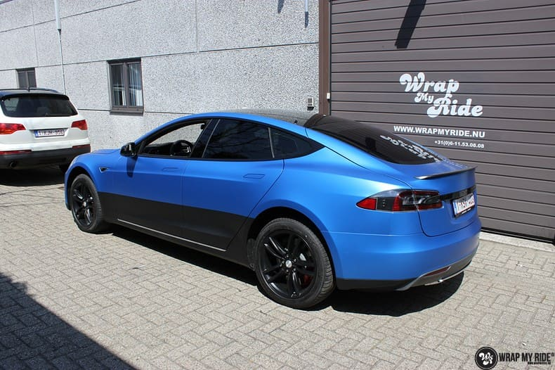 Tesla Model S P90D, Carwrapping door Wrapmyride.nu Foto-nr:10078, ©2018