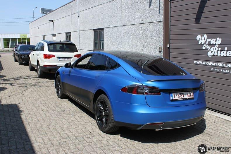 Tesla Model S P90D, Carwrapping door Wrapmyride.nu Foto-nr:10077, ©2021
