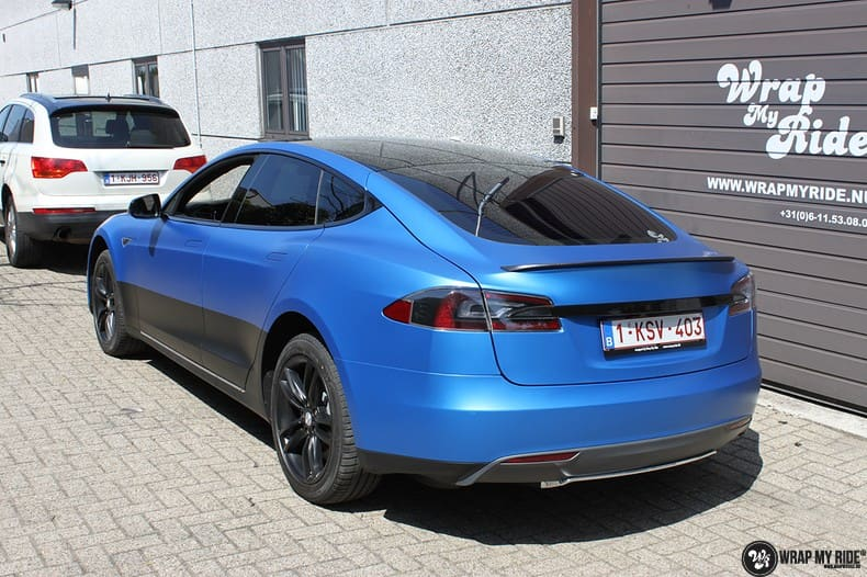 Tesla Model S P90D, Carwrapping door Wrapmyride.nu Foto-nr:10076, ©2018