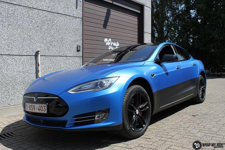 Tesla Model S P90D, Carwrapping door Wrapmyride.nu Foto-nr:10075, ©2020