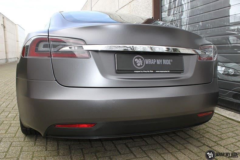 Tesla Model S Satin Dark Grey, Carwrapping door Wrapmyride.nu Foto-nr:9588, ©2018