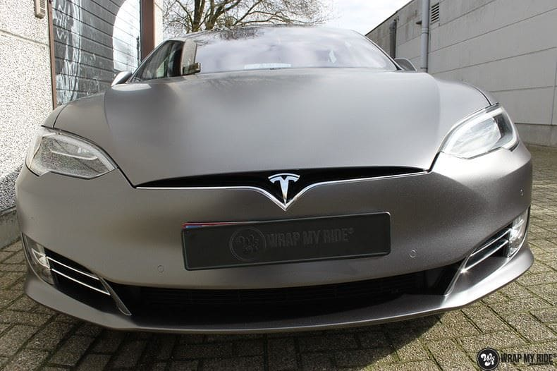Tesla Model S Satin Dark Grey, Carwrapping door Wrapmyride.nu Foto-nr:9578, ©2020