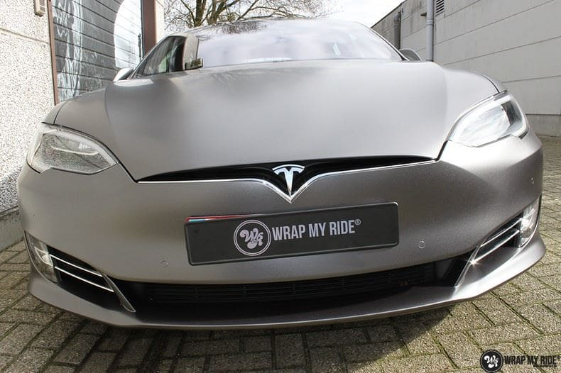 Tesla Model S Satin Dark Grey, Carwrapping door Wrapmyride.nu Foto-nr:9577, ©2020