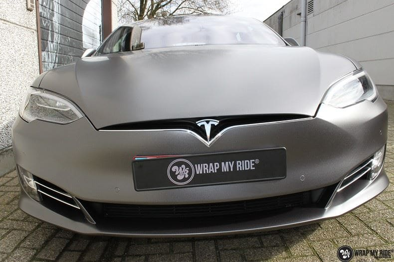 Tesla Model S Satin Dark Grey, Carwrapping door Wrapmyride.nu Foto-nr:9576, ©2021