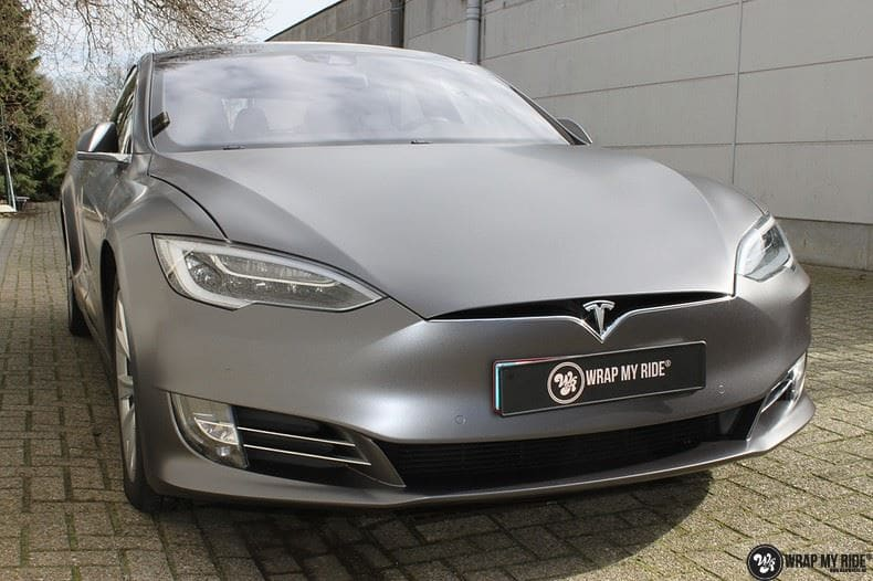 Tesla Model S Satin Dark Grey, Carwrapping door Wrapmyride.nu Foto-nr:9574, ©2020