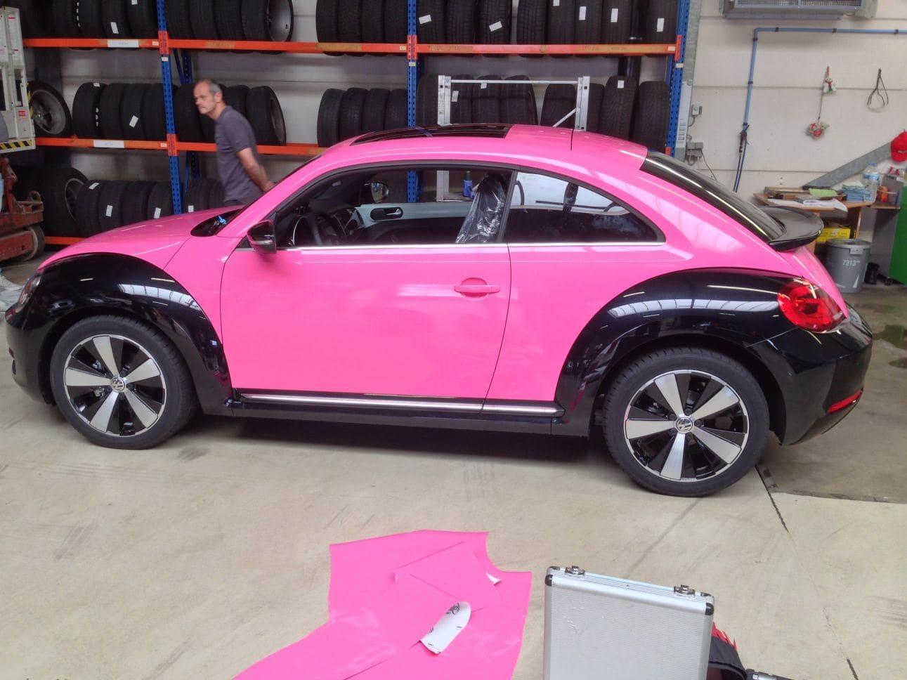 volkswagen beetle  zwart roze wrap wrap  ride