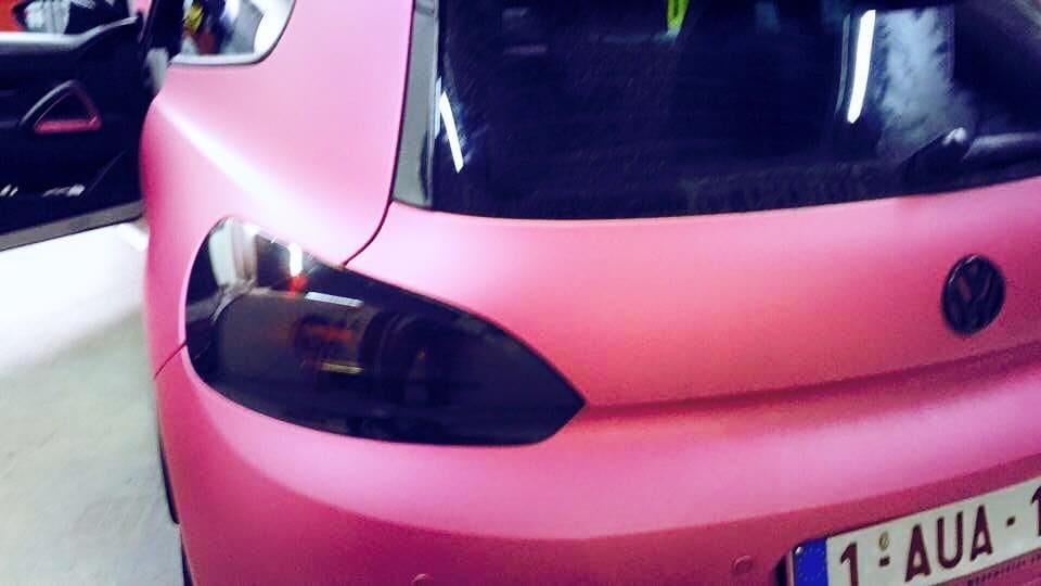 Volkswagen Scirocco met Mat Metallic Roze Warp, Carwrapping door Wrapmyride.nu Foto-nr:6962, ©2021