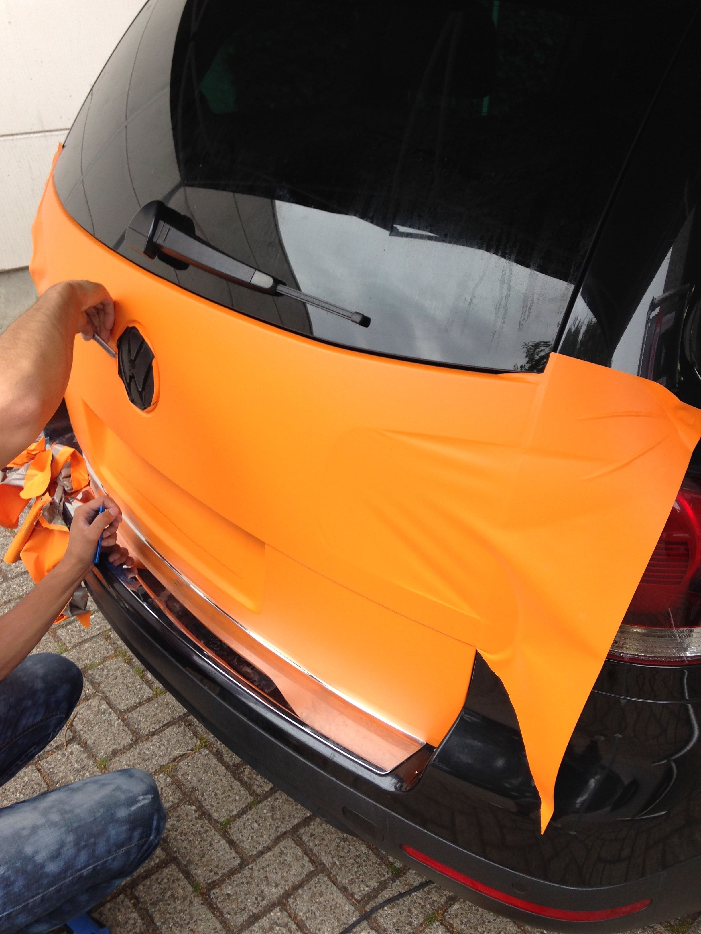 Volkswagen Touareg met Mat Oranje Wrap, Carwrapping door Wrapmyride.nu Foto-nr:7379, ©2021
