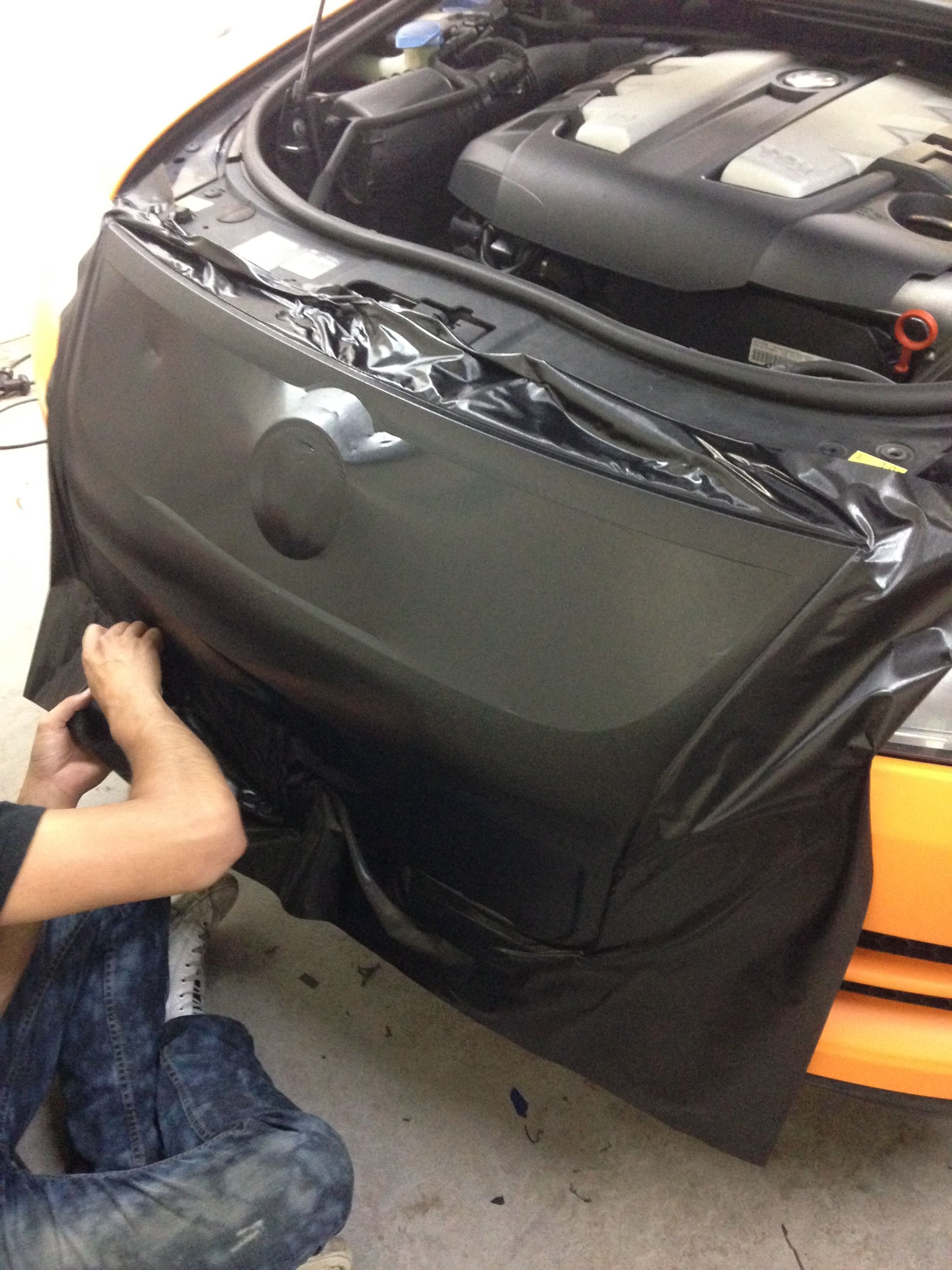 Volkswagen Touareg met Mat Oranje Wrap, Carwrapping door Wrapmyride.nu Foto-nr:7387, ©2020
