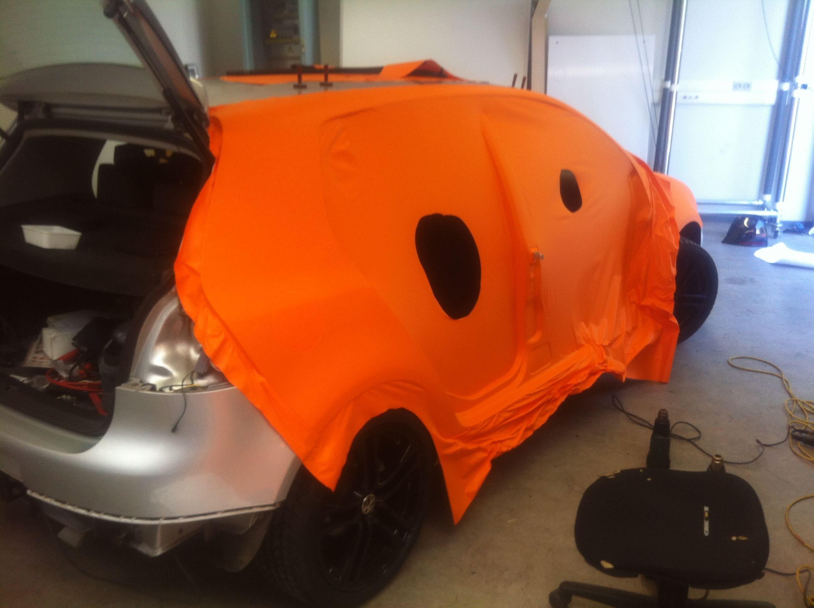 Volswagen Golf met Mat Oranje Wrap, Carwrapping door Wrapmyride.nu Foto-nr:7014, ©2021