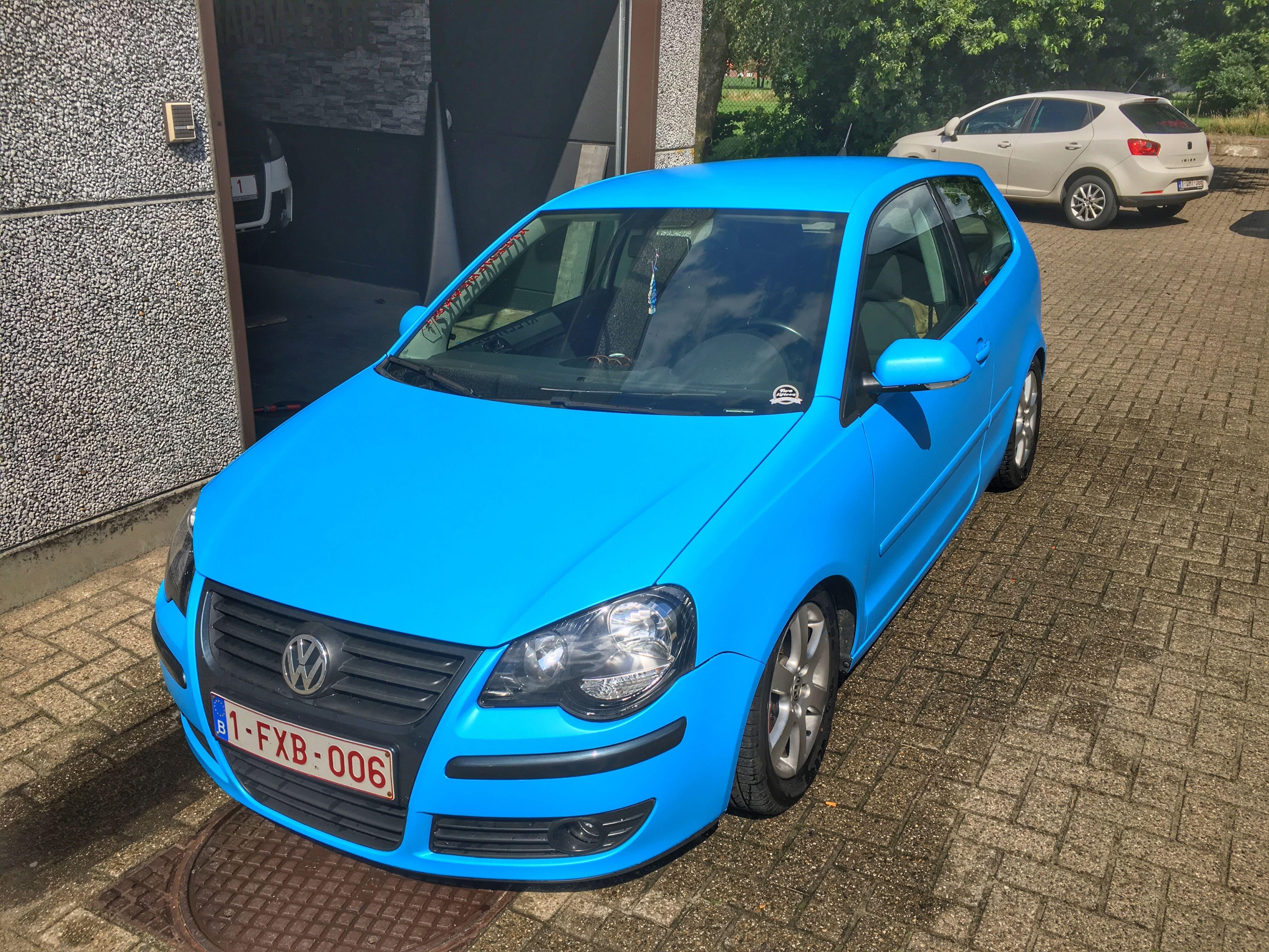 VW polo matte bleu, Carwrapping door Wrapmyride.nu Foto-nr:9186, ©2020