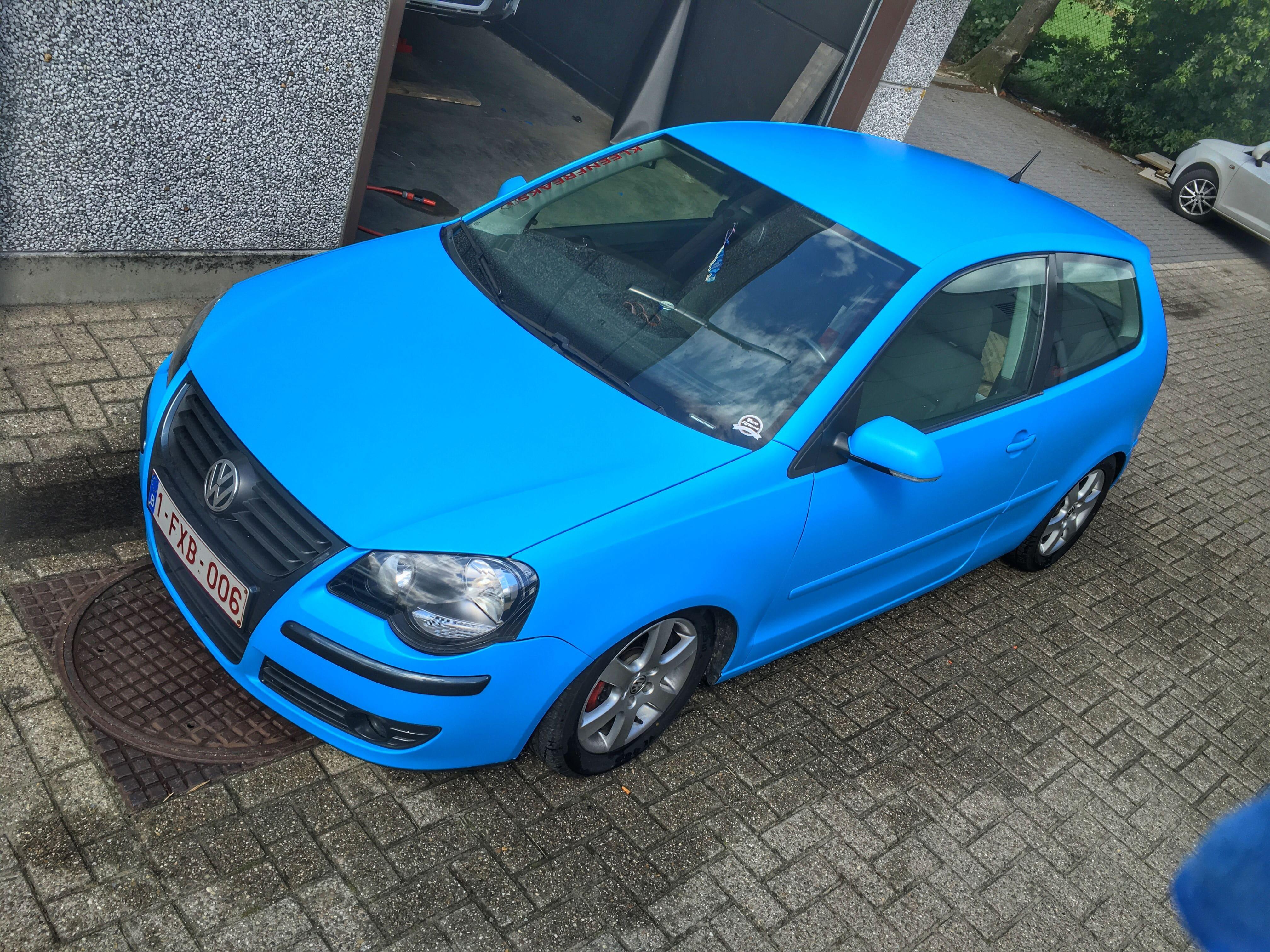 VW polo matte bleu, Carwrapping door Wrapmyride.nu Foto-nr:9192, ©2020