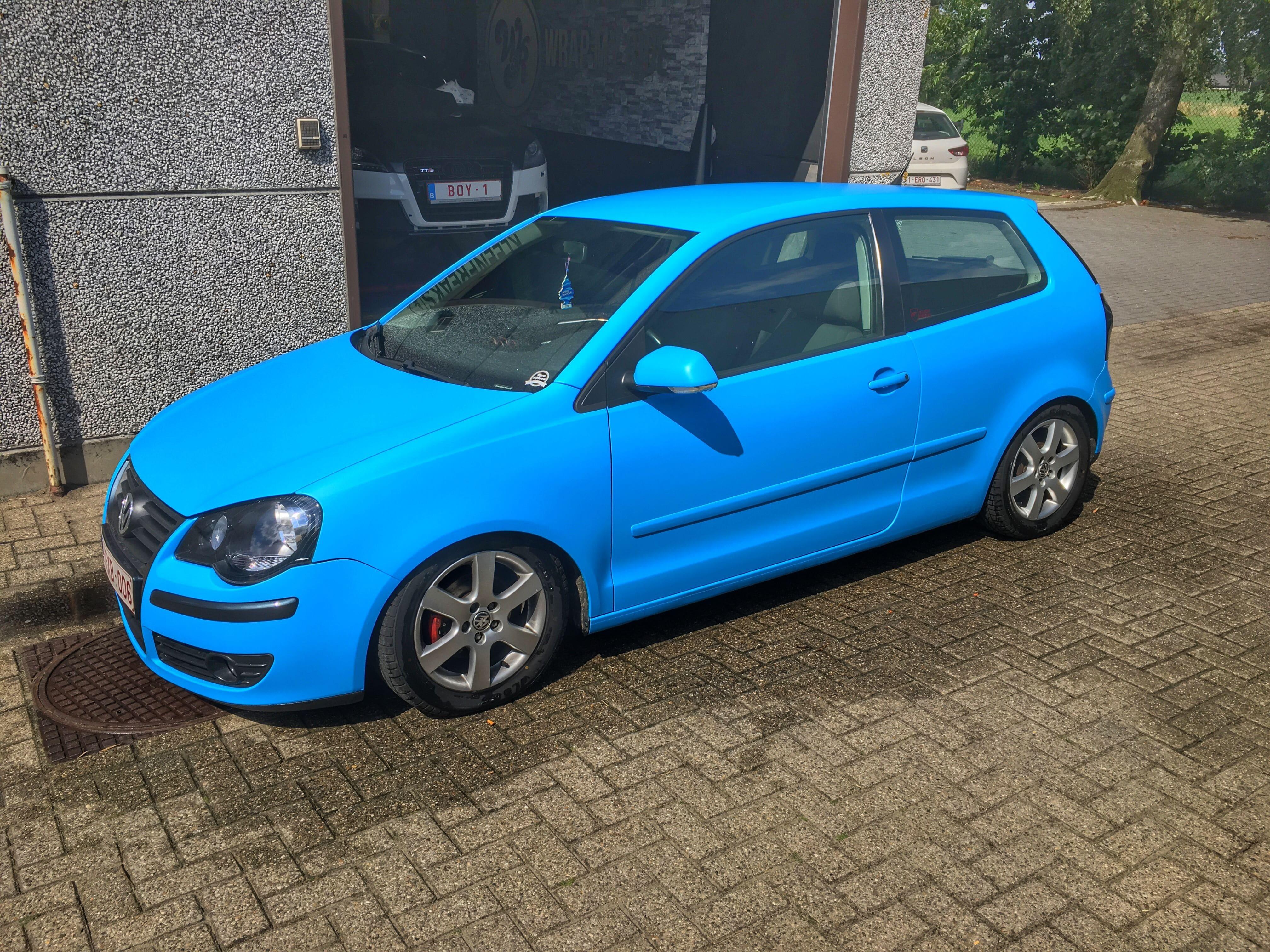 VW polo matte bleu, Carwrapping door Wrapmyride.nu Foto-nr:9185, ©2020
