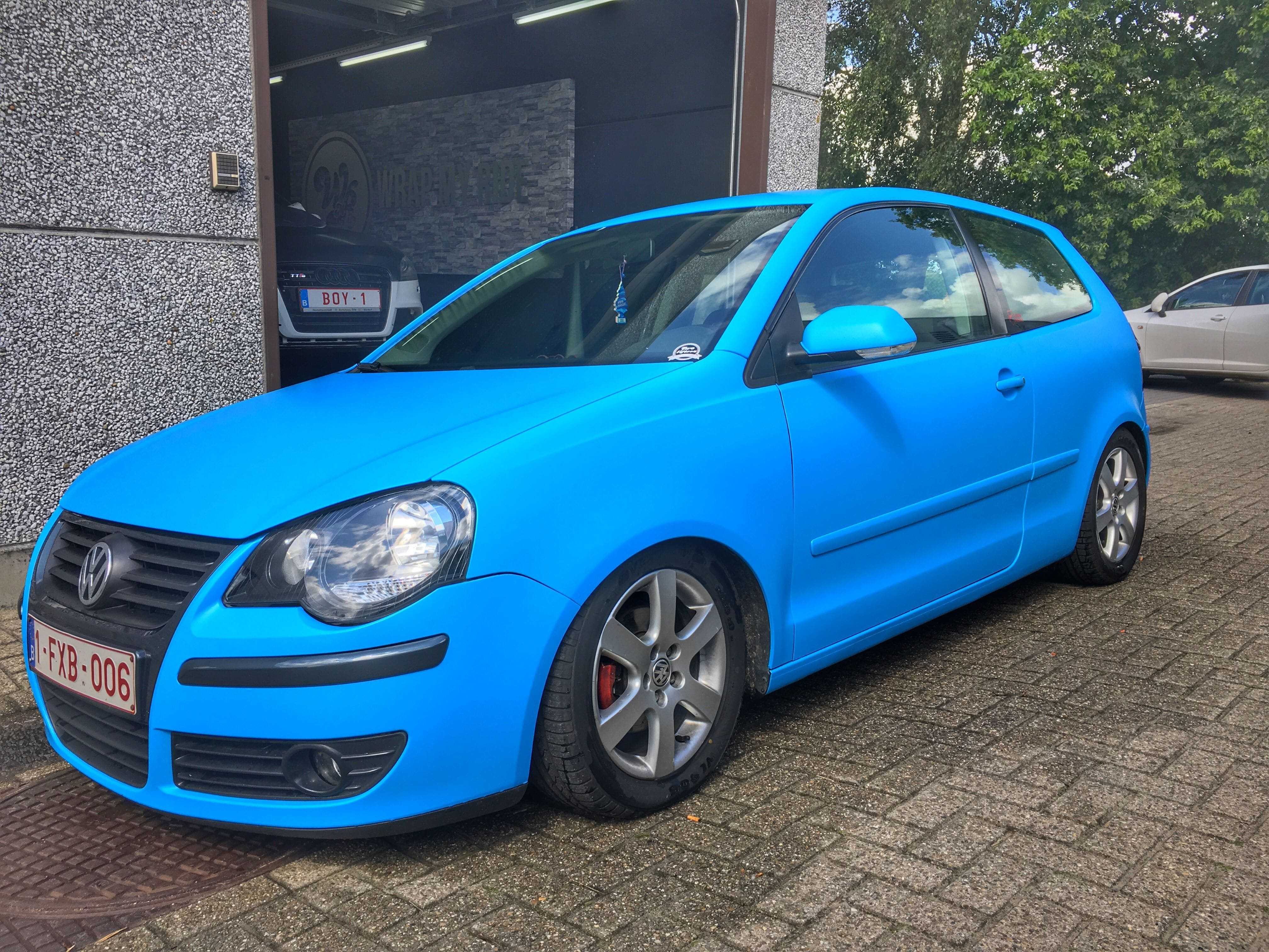 VW polo matte bleu, Carwrapping door Wrapmyride.nu Foto-nr:9191, ©2020