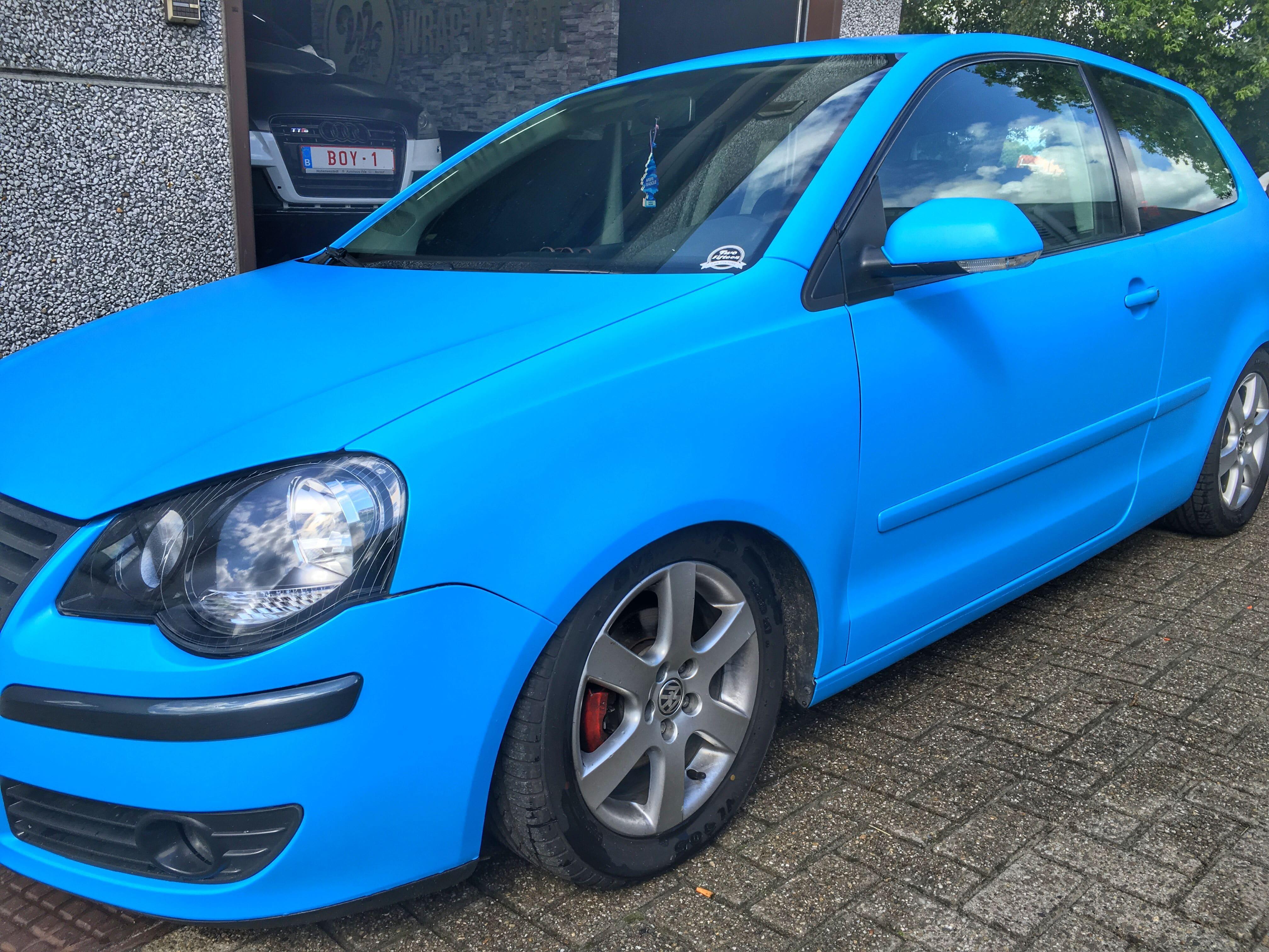 VW polo matte bleu, Carwrapping door Wrapmyride.nu Foto-nr:9190, ©2020